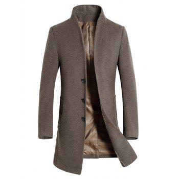 Wool Blend Covered Button Shawl Collar Coat - PALE BROWN 3XL