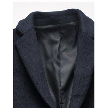 Covered Button Flap Pocket Wool Blend Coat - XL XL