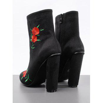 Embroidery Rose Ankle Boots - BLACK 40
