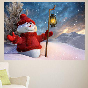 Holding Lamp Snowman Patterned Waterproof Multifunction Wall Sticker - 1PC:39*39 INCH( NO FRAME ) 1PC:39*39 INCH( NO FRAME )