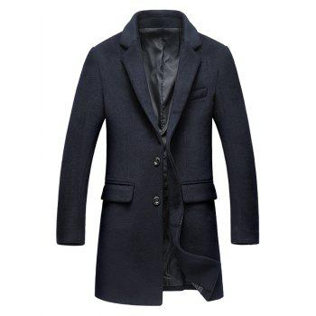Covered Button Flap Pocket Wool Blend Coat - PURPLISH BLUE PURPLISH BLUE