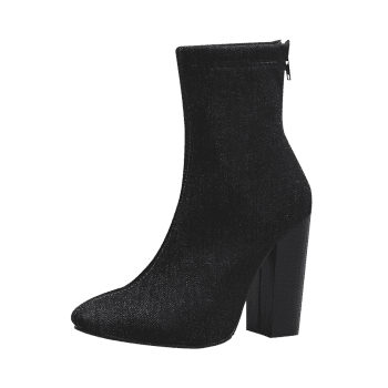 Denim Pointed Toe Chunky Boots - BLACK 36