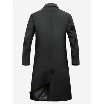 Lapel Flap Pocket Wool Blend Longline Coat - BLACK BLACK