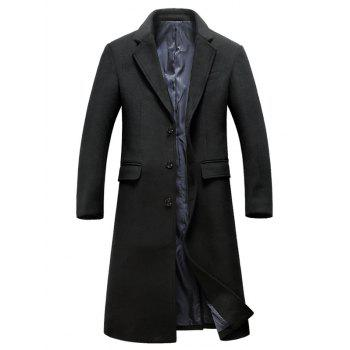 Lapel Flap Pocket Wool Blend Longline Coat - BLACK XL