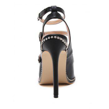 Stud Buckle Straps Ankle Strap Pumps - BLACK 36