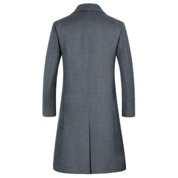 Lapel Flap Pocket Wool Blend Longline Coat - 3XL 3XL