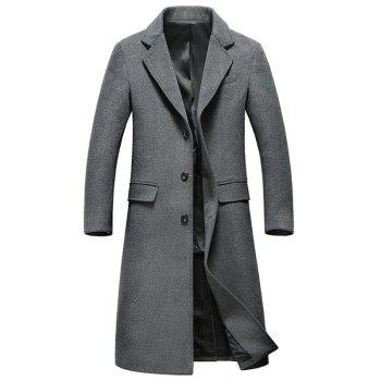 Lapel Flap Pocket Wool Blend Longline Coat - GRAY 3XL