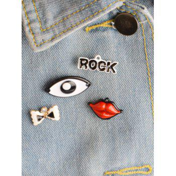 Bows Eye Rock Lips Brooch Set - COLORMIX COLORMIX