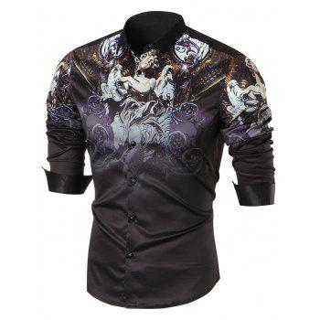 Button Up Statue Print Long Sleeve Shirt - BLACK BLACK