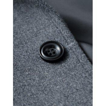 Lapel Flap Pocket Wool Blend Longline Coat - GRAY GRAY