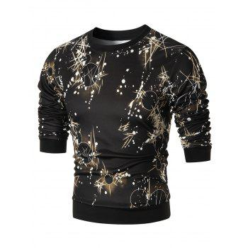 Space Print Crew Neck Sweatshirt - COLORMIX 3XL