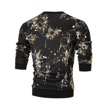 Space Print Crew Neck Sweatshirt - 3XL 3XL