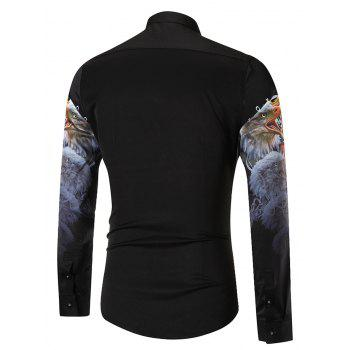 3D Eagle Printed Casual Long Sleeve Shirt - BLACK 3XL