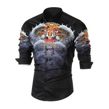 3D Eagle Printed Casual Long Sleeve Shirt - BLACK BLACK