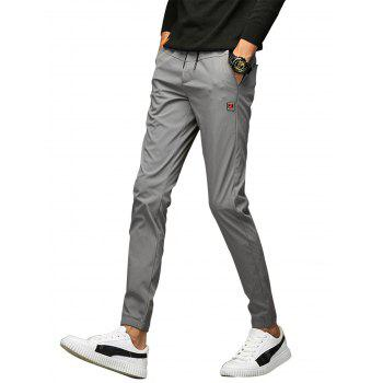 Drawstring Applique Beam Feet Jogger Pants - GRAY GRAY