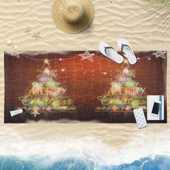 Neon Christmas Tree Print Bath Towel