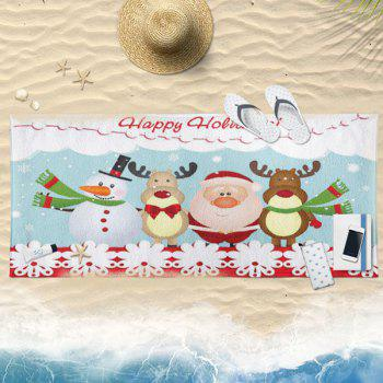 Cartoon Santa Claus Snowman Elk Bath Towel - CLOUDY 75CM*150CM