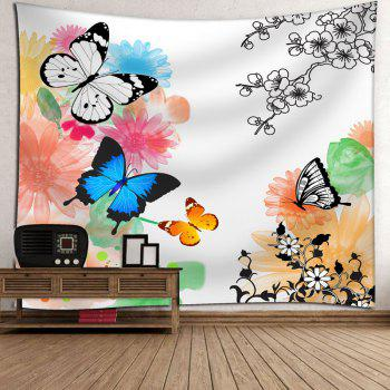 Butterfly Flower Print Wall Tapestry - WHITE WHITE