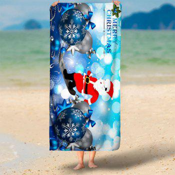 Christmas Balls Santa Claus Bath Towel - ICE BLUE ICE BLUE