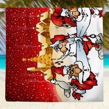 Christmas Snowscape Santa Claus Pattern Bath Towel - RED RED