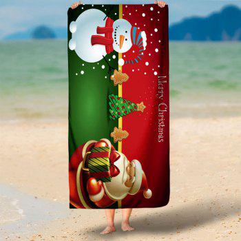 Christmas Water Absorption Printed Bath Towel - RED/GREEN RED/GREEN