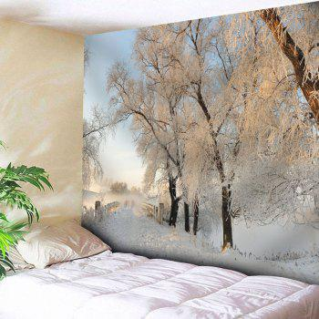 Snowscape Bedroom Wall Decor Tapestry - WHITE WHITE
