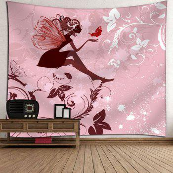 Fairy Butterfly Floral Wall Art Tapestry - PINK PINK