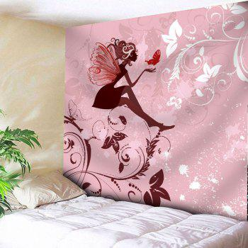 Fairy Butterfly Floral Wall Art Tapestry - PINK W79 INCH * L71 INCH