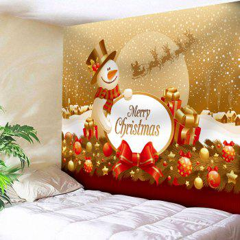 Christmas Snowman Print Tapestry - YELLOW W79 INCH * L71 INCH