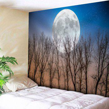 Tree Moon Print Wall Hanging Tapestry - BLUE W59 INCH * L51 INCH