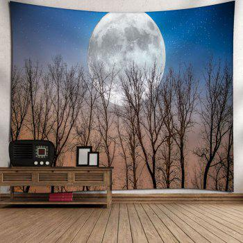 Tree Moon Print Wall Hanging Tapestry - BLUE BLUE