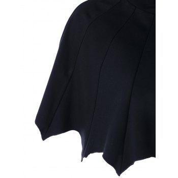 Scalloped Hooded Halloween Bat Cape - BLACK BLACK