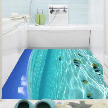 Multifunction Sea Fish Pattern Waterproof Wall Sticker - PANTONE TURQUOISE 1PC:24*47 INCH( NO FRAME )
