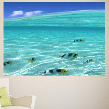 Multifunction Sea Fish Pattern Waterproof Wall Sticker - PANTONE TURQUOISE 1PC:39*39 INCH( NO FRAME )