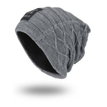 Letters Label Thicken Double-Deck Knit Hat - GRAY GRAY