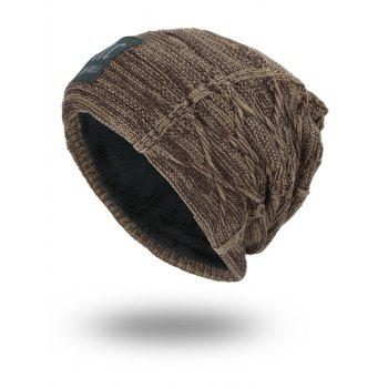 Letters Label Thicken Double-Deck Knit Hat -  DARK KHAKI