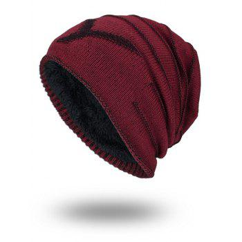 NY Double-Deck Thicken Knit Hat - WINE RED WINE RED