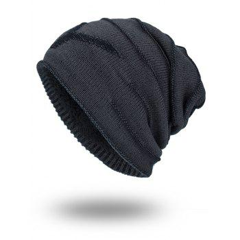 NY Double-Deck Thicken Knit Hat - DARK GREY DARK GREY
