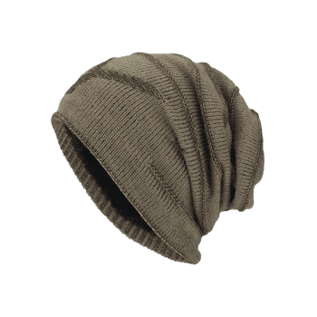 NY Double-Deck Thicken Knit Hat -  KHAKI