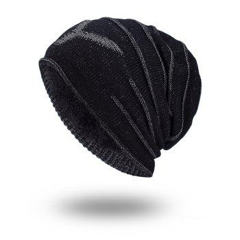 NY Double-Deck Thicken Knit Hat - BLACK BLACK