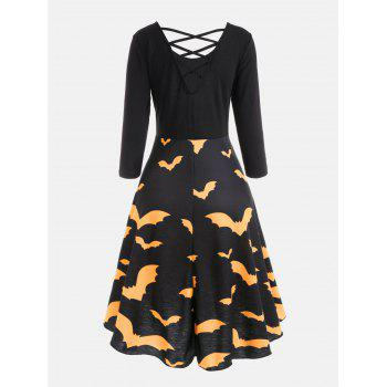 Cross Back Bat Print Fit and Flare Dress - YELLOW XL