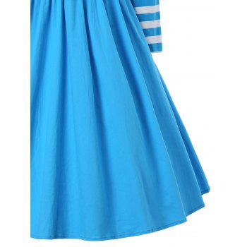A Line Striped Vintage Dress - BLUE XL