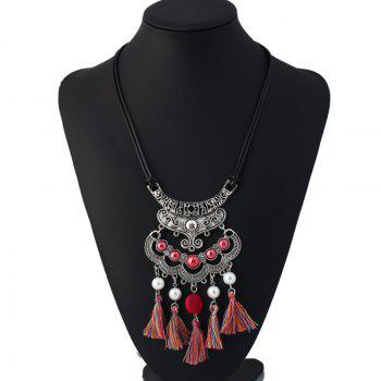Faux Pearl Vintage tassels Necklace - RED