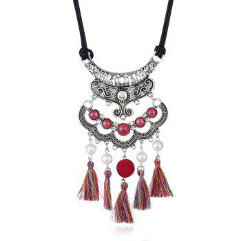 Faux Pearl Vintage tassels Necklace - RED RED