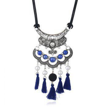 Faux Pearl Vintage tassels Necklace - BLUE BLUE