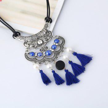 Faux Pearl Vintage tassels Necklace -  BLUE