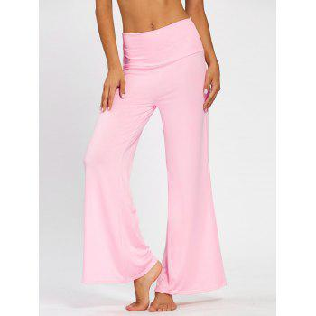 Plain Flare Pants with Wide High Waistband - PINK M