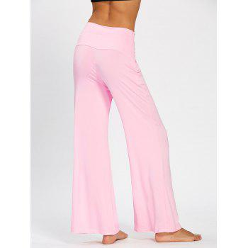 Plain Flare Pants with Wide High Waistband - PINK L