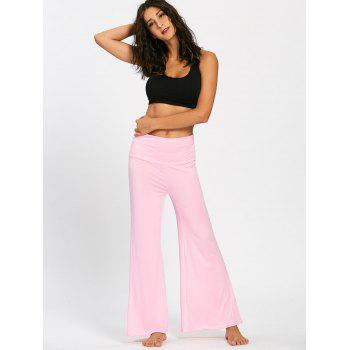 Plain Flare Pants with Wide High Waistband - PINK PINK