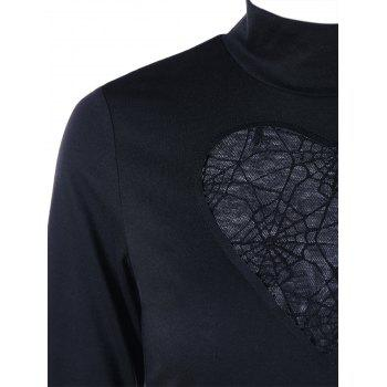 Halloween High Neck Spider Web Cut Out T-shirt - BLACK BLACK